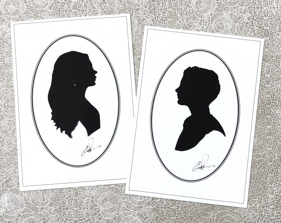 A pair of classic cameo silhouettes