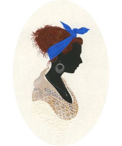 Collaged silhouette of a woman with hooped earrings and a blue scarf