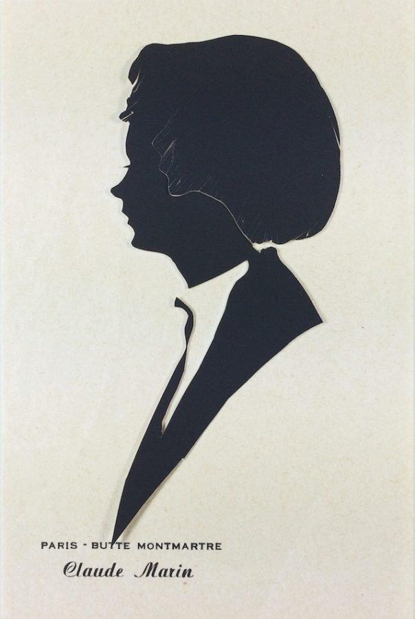Silhouette off a young woman. Label reads: Paris - Butte Montmartre, Claude Marin