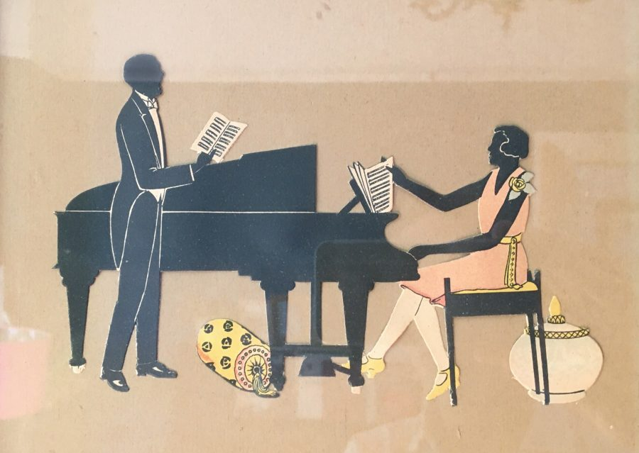 Silhouette of a man and woman with a Piano in 1920s dress. An inspiration to practice piano.