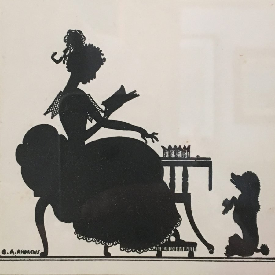 Genre silhouette of girl and poodle