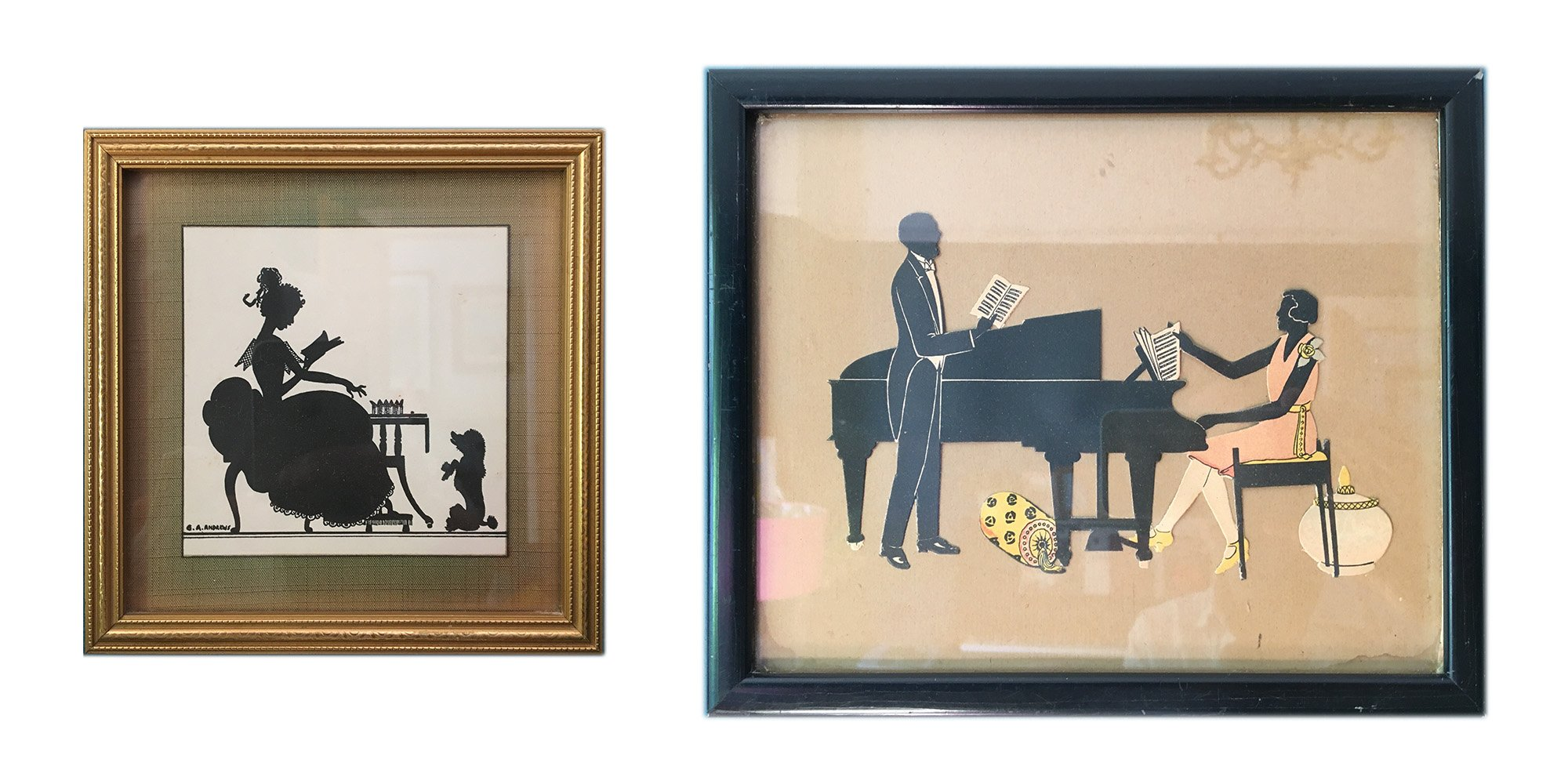Two genre silhouettes in frames