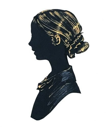 silhouette of a girl facing left