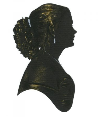 Silhouette of a woman facing right