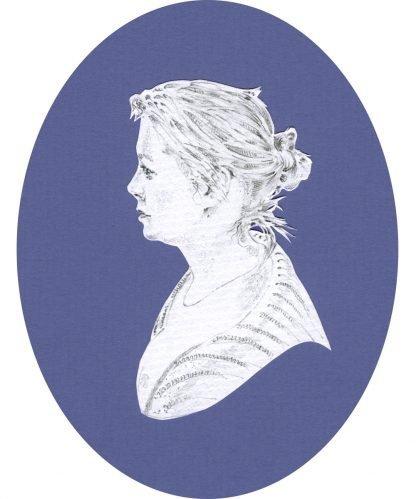 En grisaille portrait on dark blue oval background