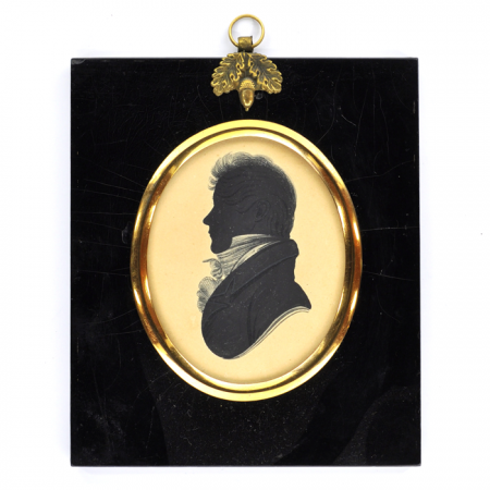 Silhouette of a young man with an elaborate white cravat