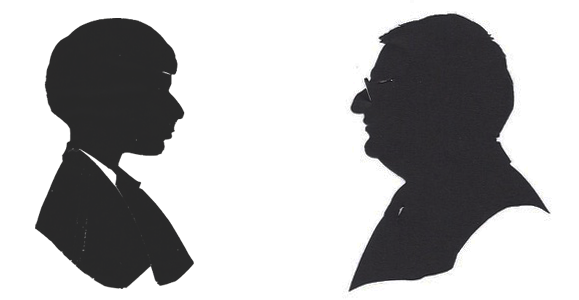 Silhouettes of Simon the boy and Simon the man