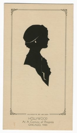Caption reads: Silhouette by Backer. Hollywood, At A Century of Progress, Chicago 1933