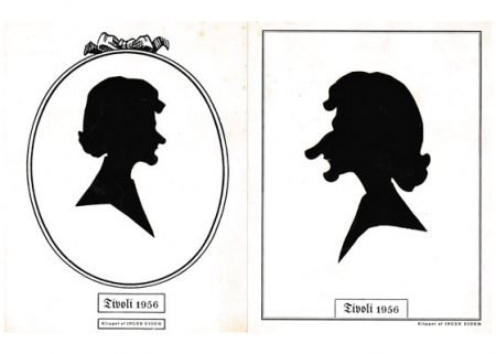 Portrait and caricature silhouettes of the same person